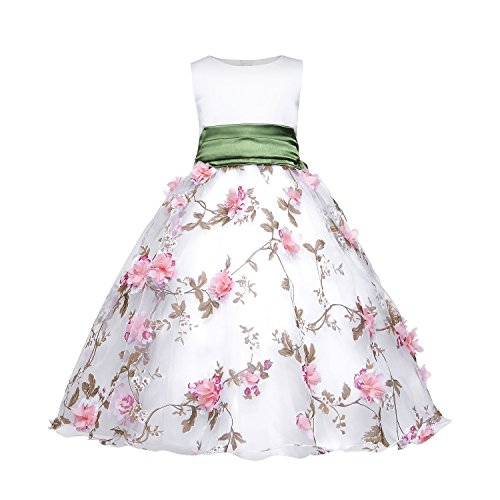Shiny Toddler Little//Big Girls Embroidered Beaded Flower Girl Flower Girl Birthday Party Christmas Dress-Up with Petticoat